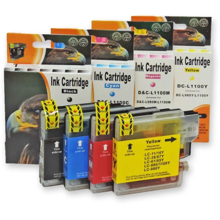 Kompatibel 4x Brother LC-980, LC-1100 BK Black Multipack...