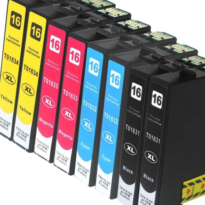 Kompatibel 8er Set Epson 16XL, Füller, T1636,...