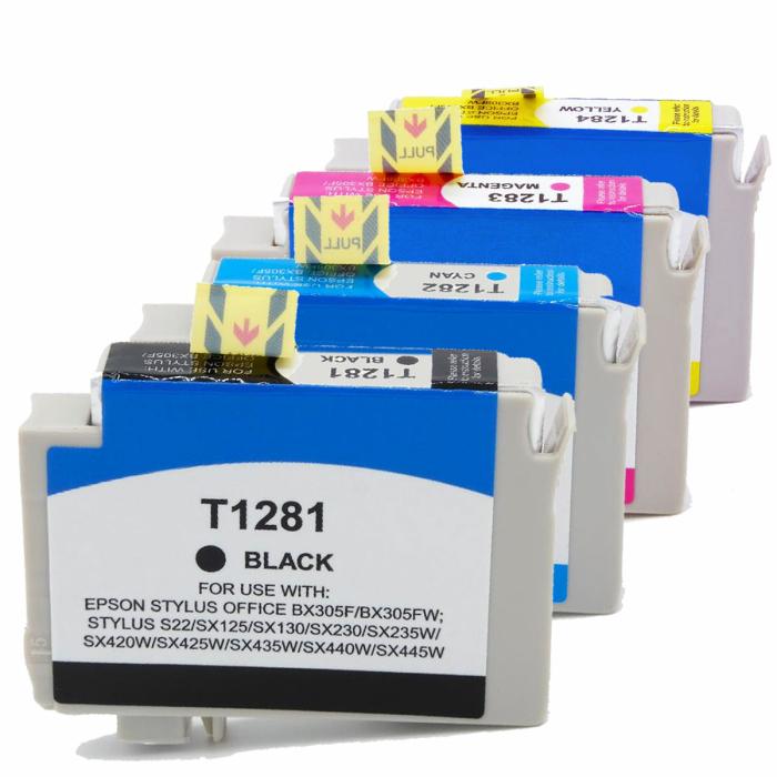 Kompatibel 4er Set Epson Fuchs, T1285, T128, C13T12854010 Druckerpatronen Tinte von D&C